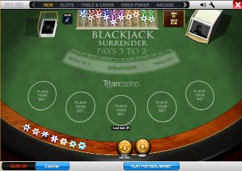 jogo de blackjack surrender gratis