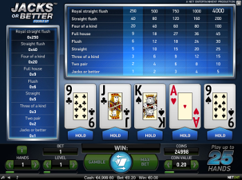 Video Poker Jacks or Better gratis